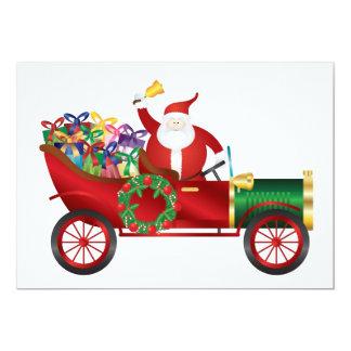 Santa Claus Ringing Bell in Vintage Car Invitation