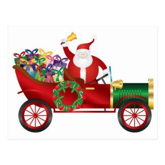 Santa Claus Ringing Bell in Vintage Car Postcard