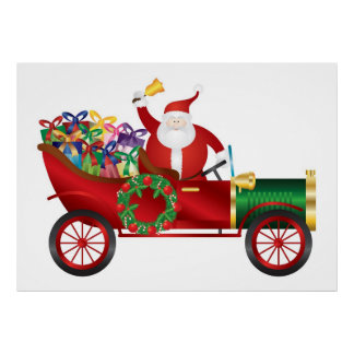 Santa Claus Ringing Bell in Vintage Car Poster