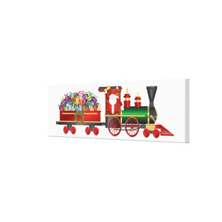Santa Claus Ringing Bell on Train and Gifts Canvas