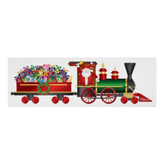 Santa Claus Ringing Bell on Train and Gifts Poster