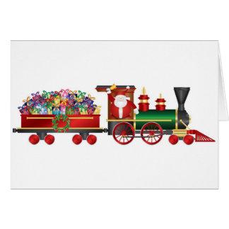 Santa Claus Ringing Bell on Train Greeting Card