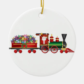 Santa Claus Ringing Bell on Train Ornament