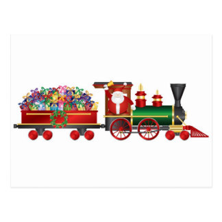 Santa Claus Ringing Bell on Train with Gifts Card Postcard