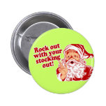 Santa Claus Rock Out 2 Inch Round Button