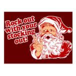 Santa Claus Rock Out Postcard