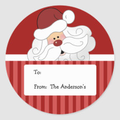Santa Claus Round Holiday Christmas Tag Stickers at Zazzle