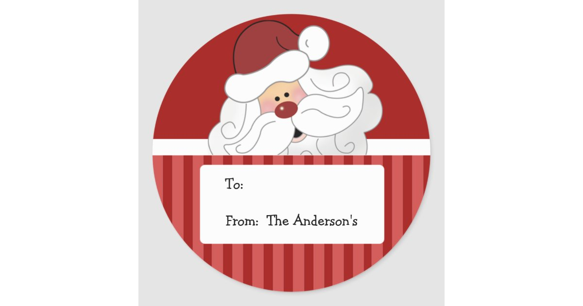 Santa claus round holiday christmas tag stickers zazzle com