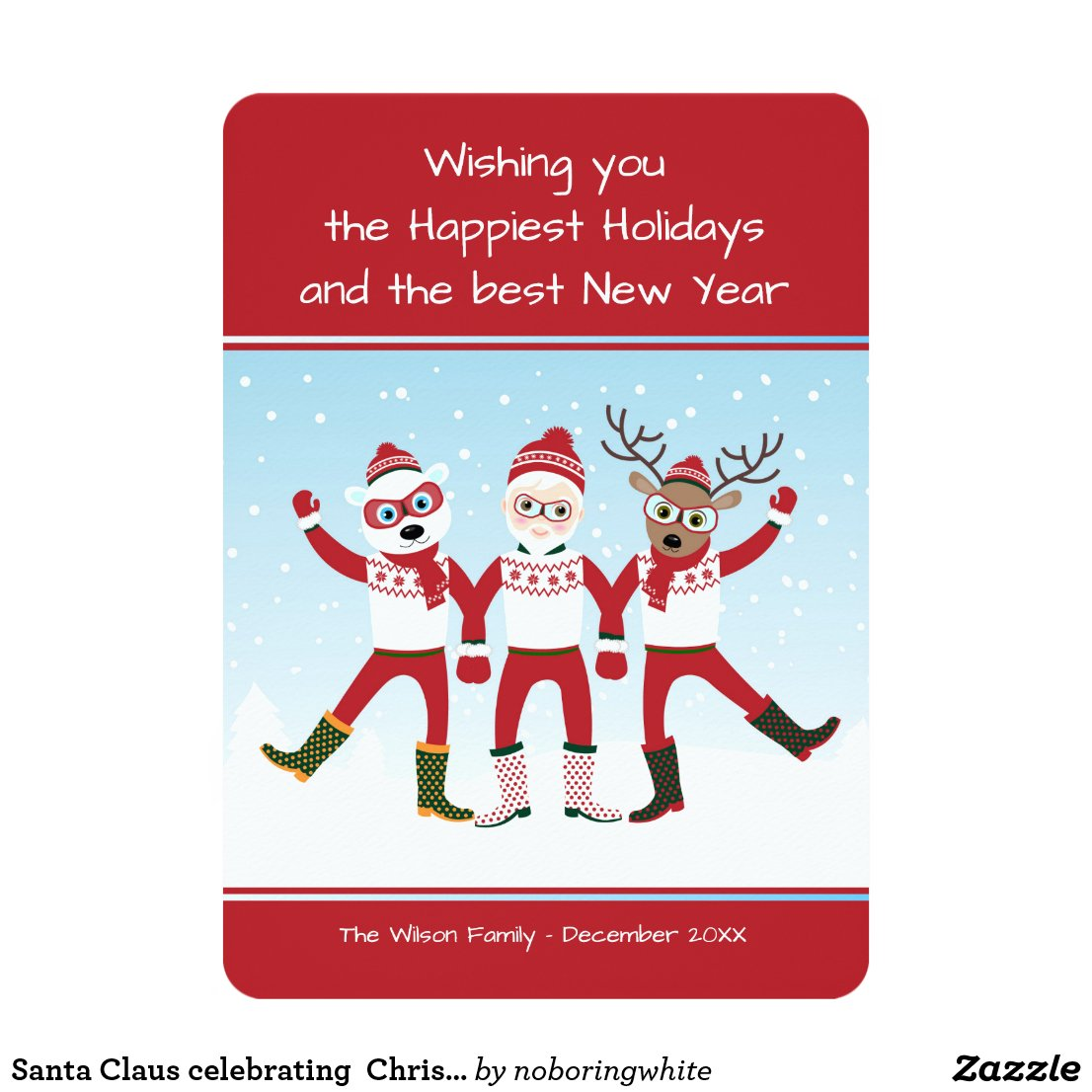Santa Claus, Rudolph and Polar Bear Christmas Card