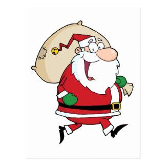Santa Claus Runs With Bag Postcard
