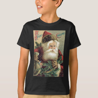 Santa Claus Sack of Toys Evergreen Bough T-Shirt