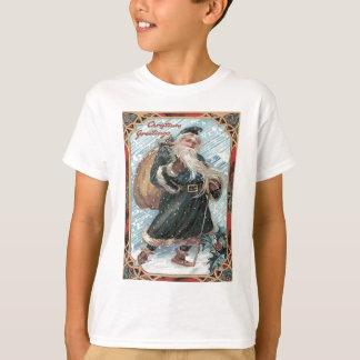 Santa Claus Sack of Toys Holly Winter Storm T-Shirt