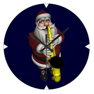 Santa Claus Saxophone Player Large Clock