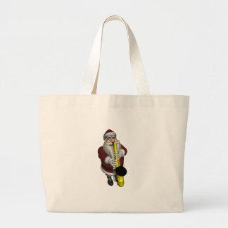 Santa Claus Saxophone Player Large Tote Bag