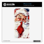 Santa Claus Saying SH-H-H Decal For iPhone 4