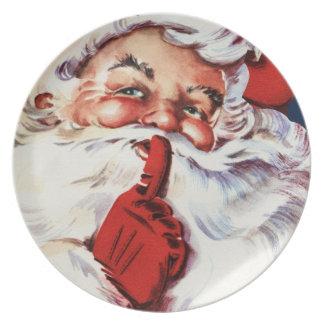 Santa Claus Saying SH-H-H Melamine Plate
