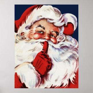 Santa Claus Saying SH-H-H Poster