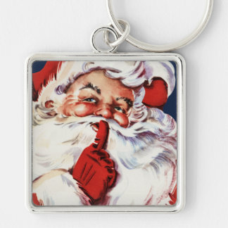 Santa Claus Saying SH-H-H Silver-Colored Square Keychain