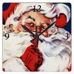 Santa Claus Saying SH-H-H Wall Clocks