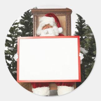 Santa Claus Says Round Stickers