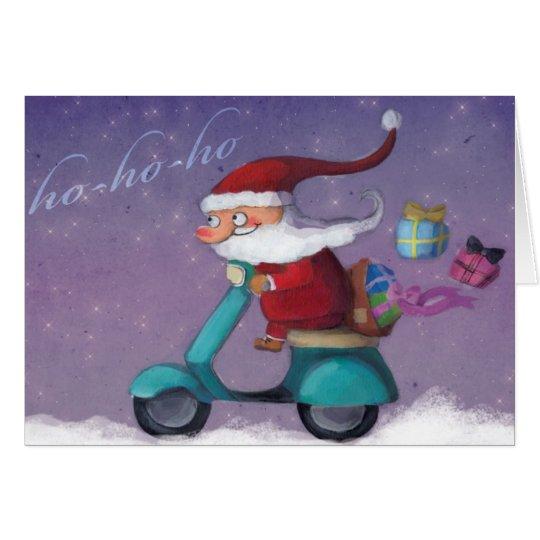 Santa Claus Scooterist Card