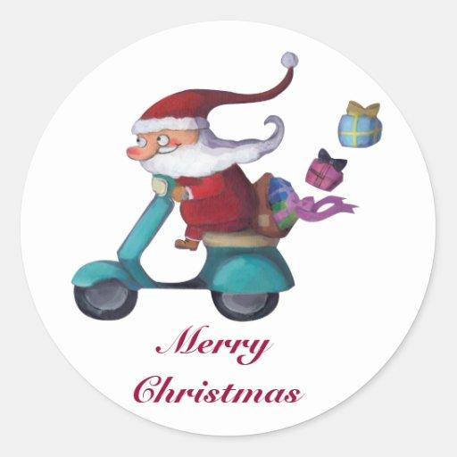 Santa Claus Scooterist Classic Round Sticker