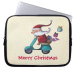 Santa Claus Scooterist Computer Sleeve