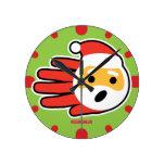 Hand shaped Santa Claus singing Christmas carols and songs Round Clock