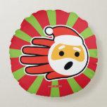 Hand shaped Santa Claus singing Christmas carols and songs Round Pillow