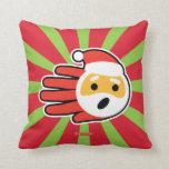 Hand shaped Santa Claus singing Christmas carols and songs Throw Pillow