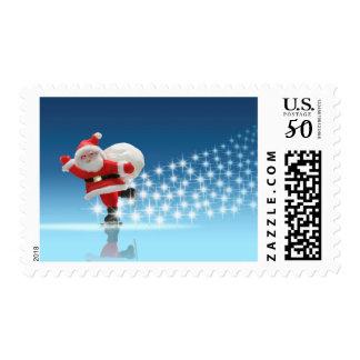 Santa Claus Skating With Stars Postage
