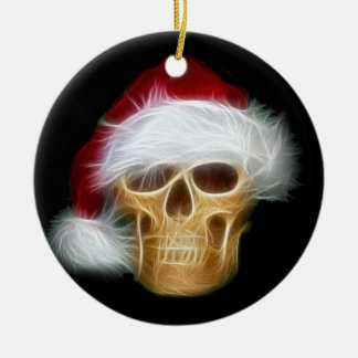 Santa Claus skull Double-Sided Ceramic Round Christmas Ornament