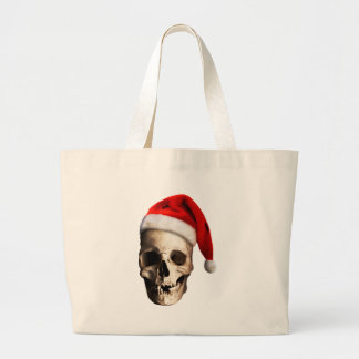 Santa Claus Skull Hat Skeleton Large Tote Bag