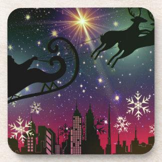 santa claus sleigh beverage coaster