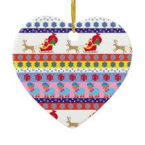 Santa Claus sleigh Ceramic Ornament