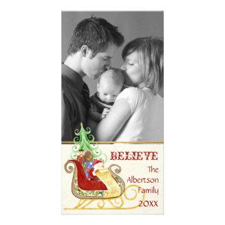 Santa Claus Sleigh Christmas Photograph Photo Card