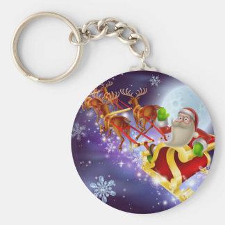 Santa Claus Sleigh Christmas Scene Key Chains