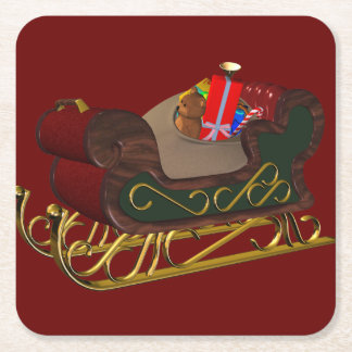 Santa Claus Sleigh in 3D Christmas Square Paper Coaster