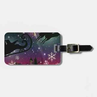 santa claus sleigh luggage tag