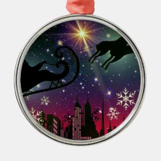 santa claus sleigh metal ornament