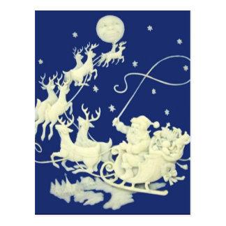 Santa Claus Sleigh Night Ride Christmas Blue White Postcard