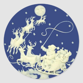 Santa Claus Sleigh Night Ride Christmas Blue White Classic Round Sticker