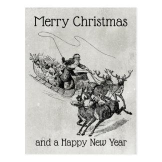 Santa Claus Sleigh & Reindeer Old World Monochrome Postcard
