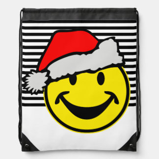 Santa Claus Smiley + your backgr. & ideas Drawstring Backpack