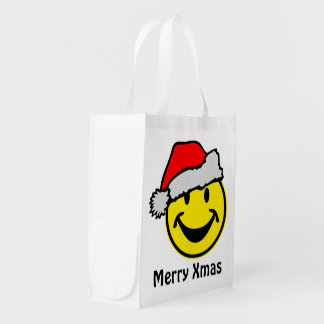 Santa Claus Smiley + your backgr. & ideas Grocery Bag