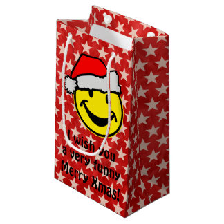 Santa Claus Smiley + your backgr. & ideas Small Gift Bag