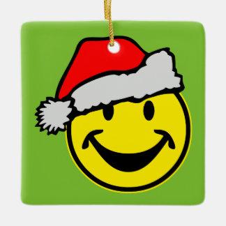 Santa Claus Smiley + your ideas Ceramic Ornament