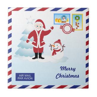 Santa Claus snail mail Tile