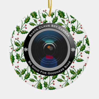 Santa Claus Spy Camera Ceramic Ornament