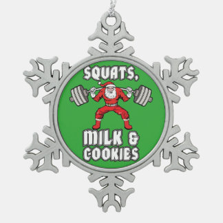 Santa Claus - Squats, Milk and Cookies Snowflake Pewter Christmas Ornament